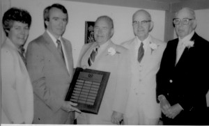 """The """"Three Bills"""" named to the first Dollars for Scholars National Honor Roll, June 13, 1982. From left to right, Pat Mooney, President, CSF of Wakefield, Joe Phelan, President, CSF of America, Bill Spaulding, Bill Jones, and Bill Lee"""