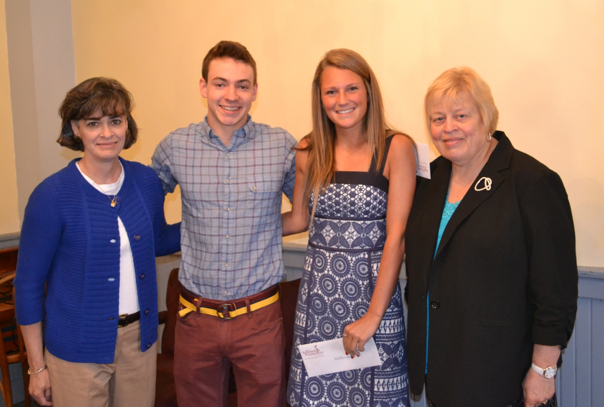 Two of the 2014 Spaulding Merit Award Winners, with President Faith Hodgkins (right) and Vice President Jennifer Walter (left)